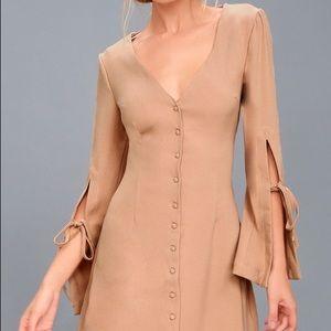 Fifth Label Jeanne Beige Long Sleeve Dress